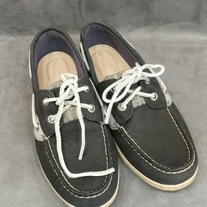 Sperry Top Sider Shoes Leather Navy silver 6.5